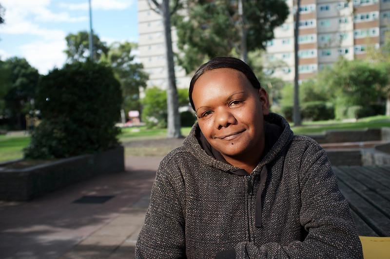Aboriginal Woman wearing a Hoodie