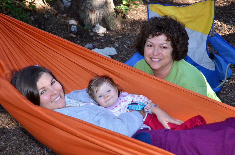 2012-9-2 – Jessica's little family came up again today and Jess and Aili were enjoying my hammock while Lisa sat next to them talking. Aili was doing this funny tight lipped smile all day, but was just as cute as ever.