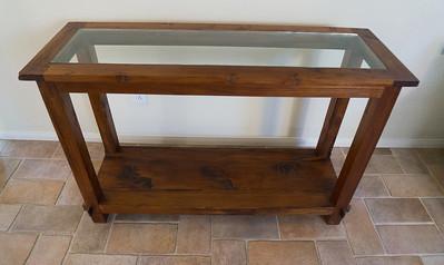 Teak Side Table w/Glass Top W x D x H: 65' x 17.5' x 32'