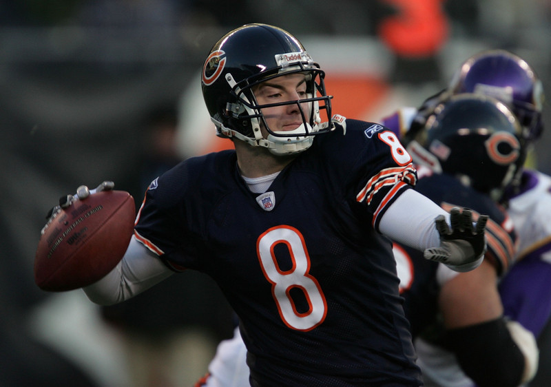 . Rex Grossman, Florida Selected 22nd overall by the Bears in 2003 In 2006, the Chicago Bears went 13-3 and won the NFC Championship with Grossman at quarterback. Other than that run, it�s been a largely forgettable career for the former Gator. Grossman has thrown more interceptions (60) than touchdowns (56) in 54 career games, and not including his run to the Super Bowl with Chicago in 2006, his record as a starter is 12-19. GRADE: D. Thanks goodness for that Super Bowl appearance. (Photo by Jonathan Daniel/Getty Images)