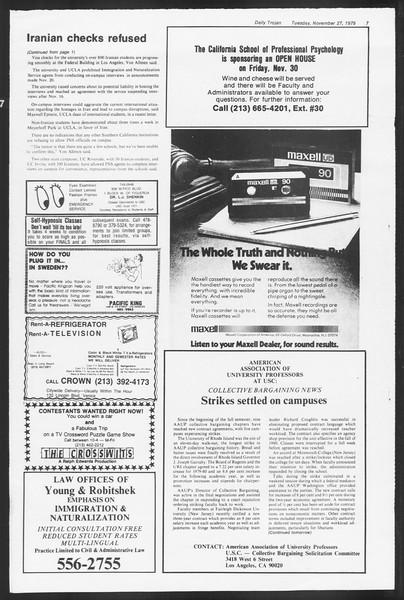 Daily Trojan, Vol. 87, No. 47, November 27, 1979