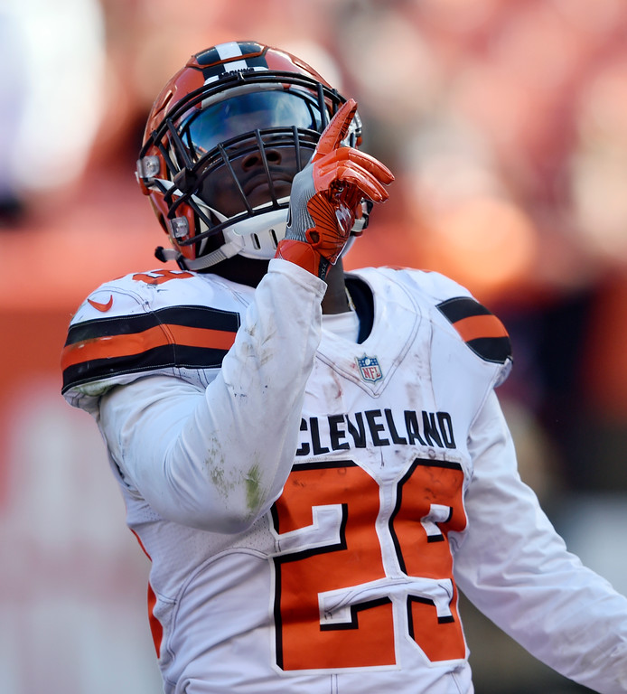 . Cleveland Browns running back Duke Johnson celebrates a 1-yard touchdown in the second half of an NFL football game against the Cincinnati Bengals, Sunday, Oct. 1, 2017, in Cleveland. (AP Photo/David Richard)