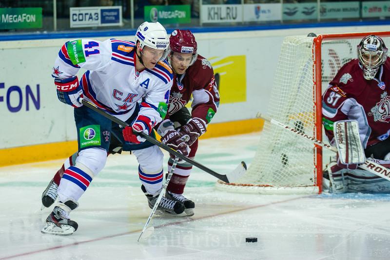 Patrick Thoresen (41) and Szczechura Paul (38) during the KHL regular championship game between Dinamo Riga and SKA Saint Petersburg in Arena Riga