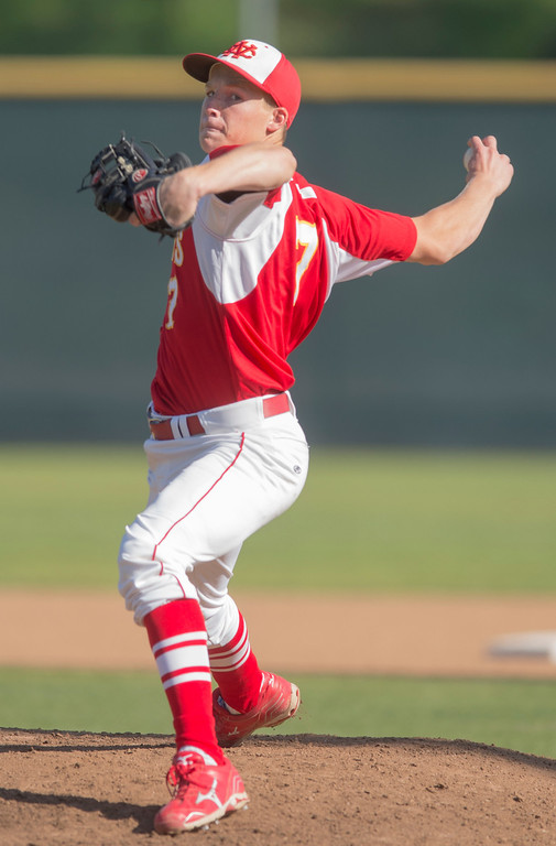 . Whittier Christian High pitcher Mike Rafter loses to Santa Fe High at Biola University\'s field in La Mirada March 12, 2013.  (SGVN/Staff photo by Leo Jarzomb)