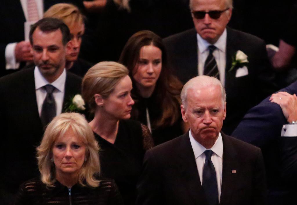 . Vice President Joe Biden, his wife Jill Biden, and family members, follow the casket during funeral services for Biden\'s son, Beau Biden, Saturday, June 6, 2015, at St. Anthony of Padua Church in Wilmington, Del. (Yuri Gripas/Pool Photo via AP)
