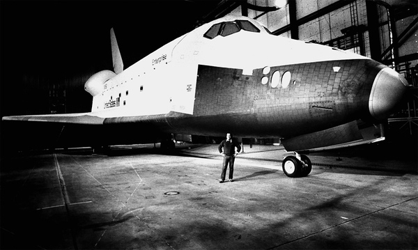 Glides Powerless to Land,<br /> Most Powerful Engines for Launch.<br /> The Shuttle Star Fleet.<br /> <br /> SS Enterprise (and moi) - Edwards AFB, California