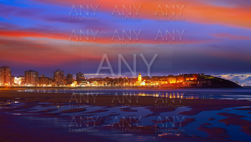 Gijon skyline sunset in San Lorenzo beach Asturias