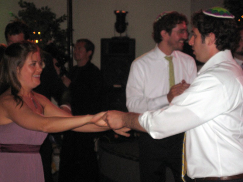 Sarah (bridesmaid) dances with Sacha (friend of the bride and groom)