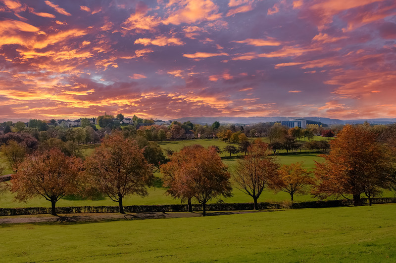 Autumn Sunset Over Bellahouston Glasgow