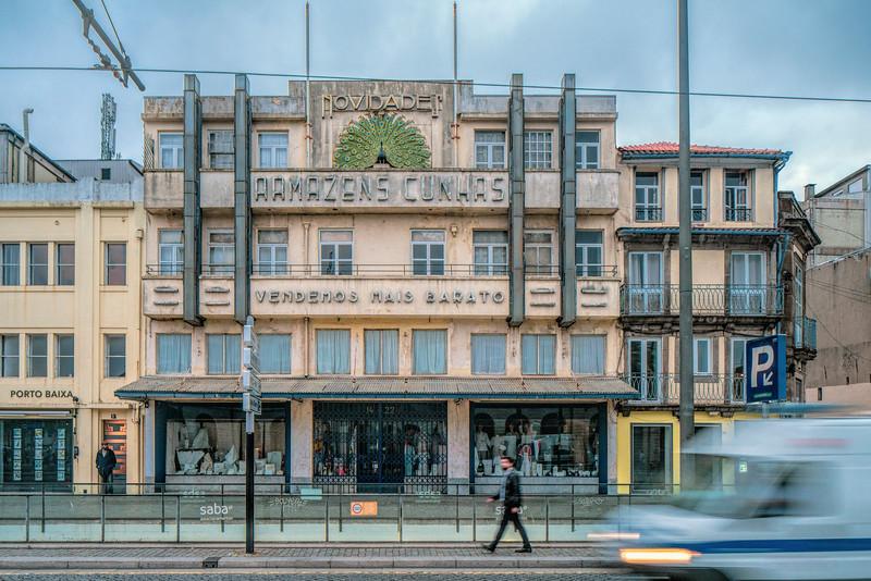Armazens Cunhas (Department Store), Art Deco-style building in Porto, Portugal.