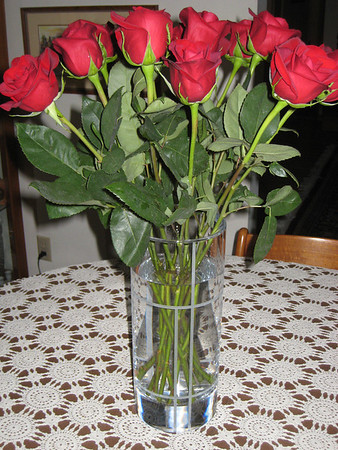 "Roses from Allan in the ""Retirement Vase,"" ""Neanna's Chair"" from David Hevel, Flowers for Mother's Day from Marie and Kirsten, May 2010"
