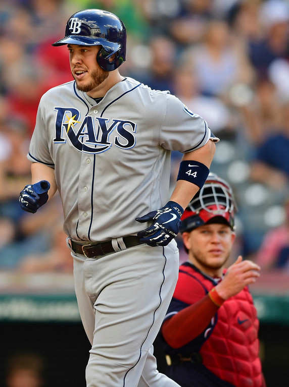. Tampa Bay Ray\' C.J. Cron smiles after hitting a solo home run off Cleveland Indians starting pitcher Carlos Carrasco in the fourth inning of a baseball game, Sunday, Sept. 2, 2018, in Cleveland. (AP Photo/David Dermer)