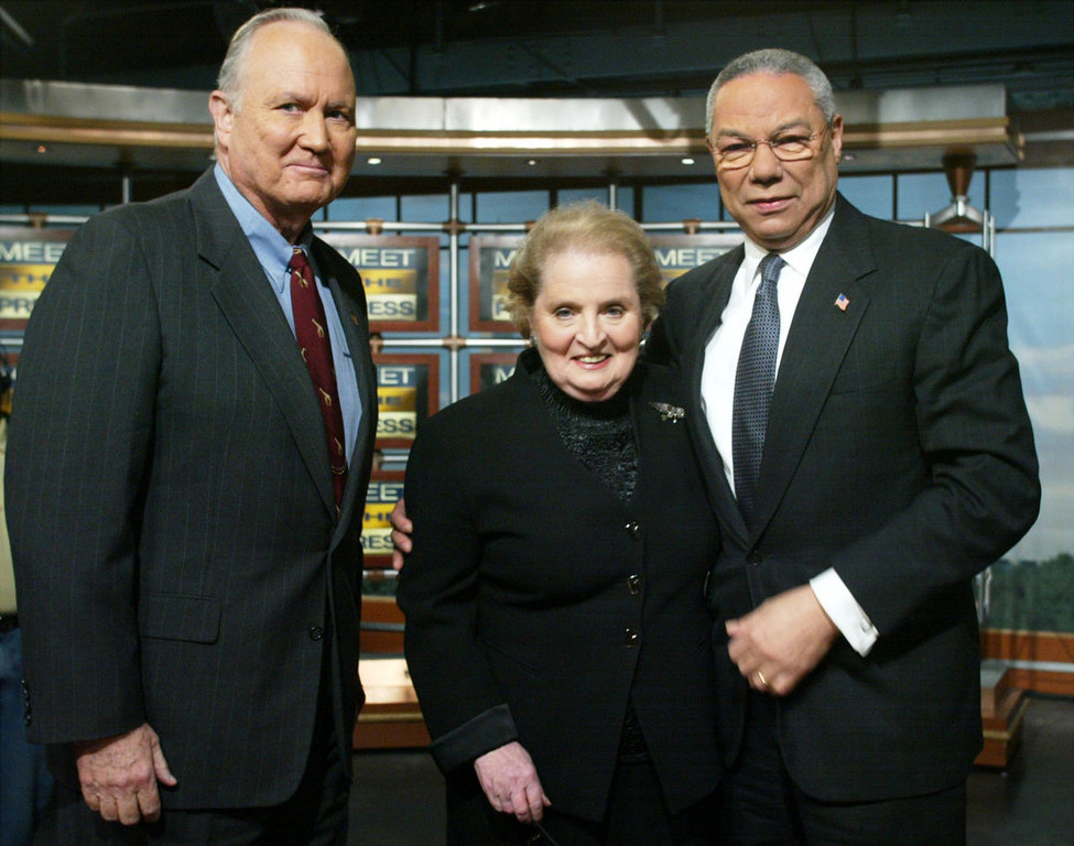 """. Former U.S. Secretary of State Madeleine Albright (C), Secretary of State Colin Powell (R) and former Commander in the Persian Gulf General Norman Schwarzkopf (Ret.) (L) pose for photographer during a segmental break of the taping of NBC\'s \'Meet the Press\' February 9, 2003 at the NBC studios in Washington, DC.  Powell said on the show Saddam Hussein \""""has only got a short period of time left to demonstrate compliance, or force will have to be used to bring him into compliance.\""""  (Photo by Alex Wong/Getty Images)"""