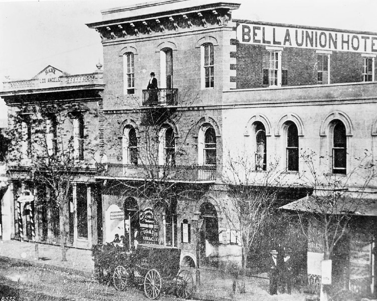 Exterior view of the Bella Union Hotel in Los Angeles, 1871