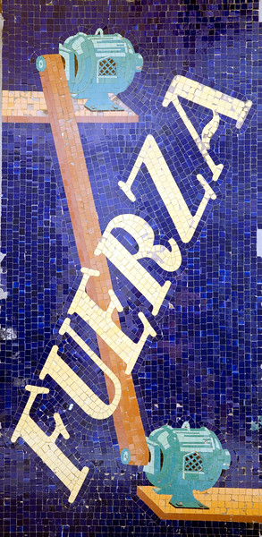 """Glazed ceramic mosaic from an electric shop, the sign says """"fuerza"""" (power), town of Barcelona, autonomous commnunity of Catalonia, northeastern Spain"""