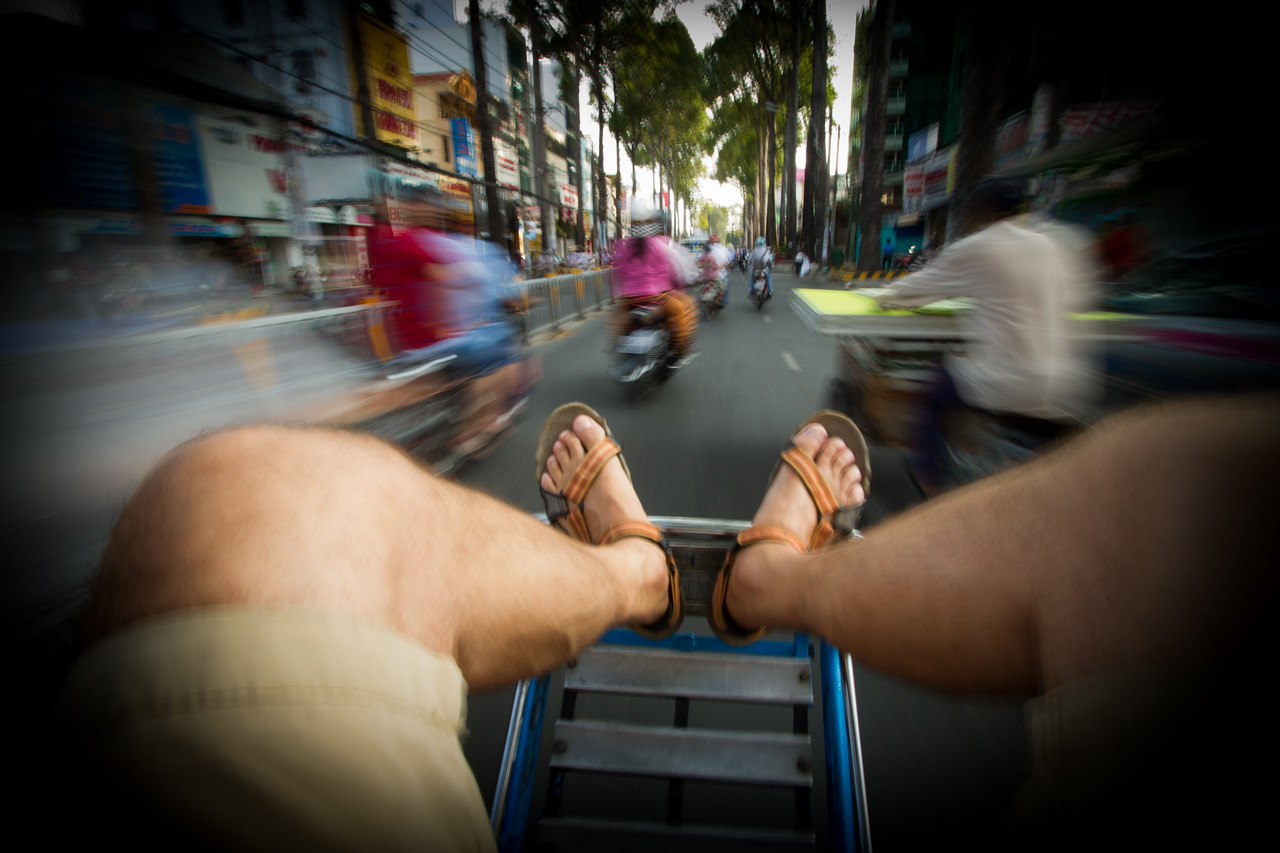 Riding a PediCab in Vietnam