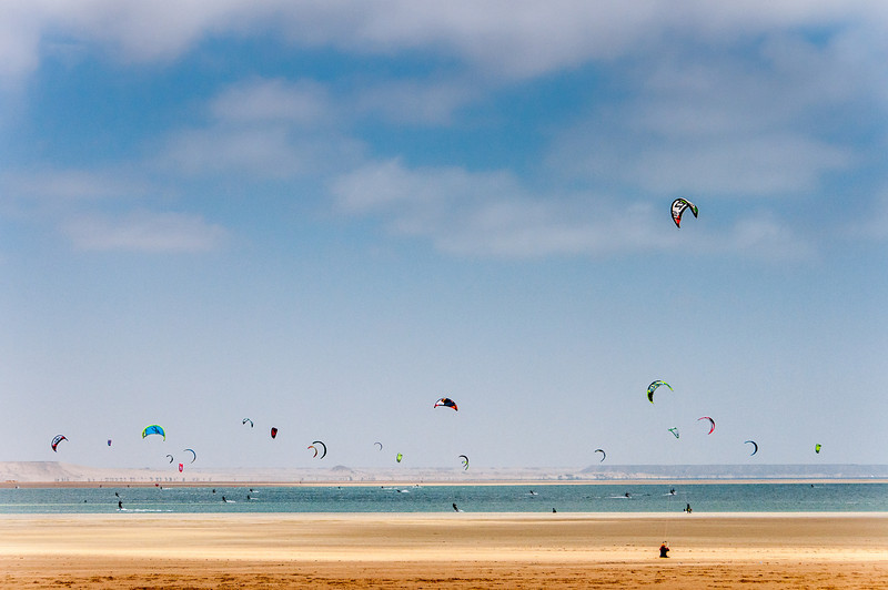 Kite surfer in Dakhla, Western Sahara