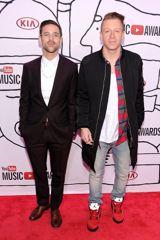 . Ryan Lewis (L) and Macklemore attend the YouTube Music Awards 2013 on November 3, 2013 in New York City.  (Photo by Dimitrios Kambouris/Getty Images)