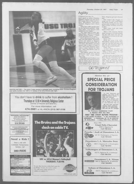 Daily Trojan, Vol. 105, No. 35, October 22, 1987