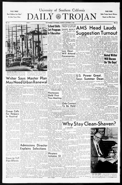 Daily Trojan, Vol. 55, No. 21, October 21, 1963