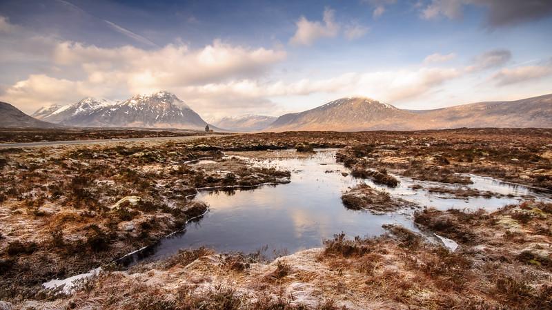 Frozen ponds on Rannoch Moor
