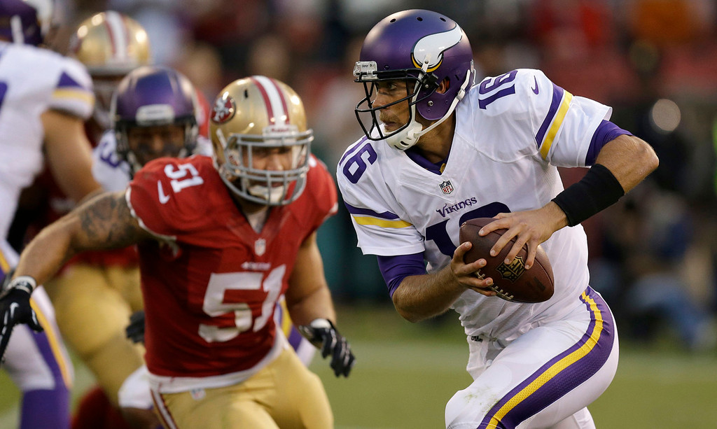 . Minnesota Vikings quarterback Matt Cassel (16) scrambles as San Francisco 49ers linebacker Dan Skuta (51) pursues during the fourth quarter of an NFL preseason football game in San Francisco, Sunday, Aug. 25, 2013. (AP Photo/Ben Margot)