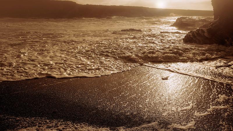 sunset and sea spray