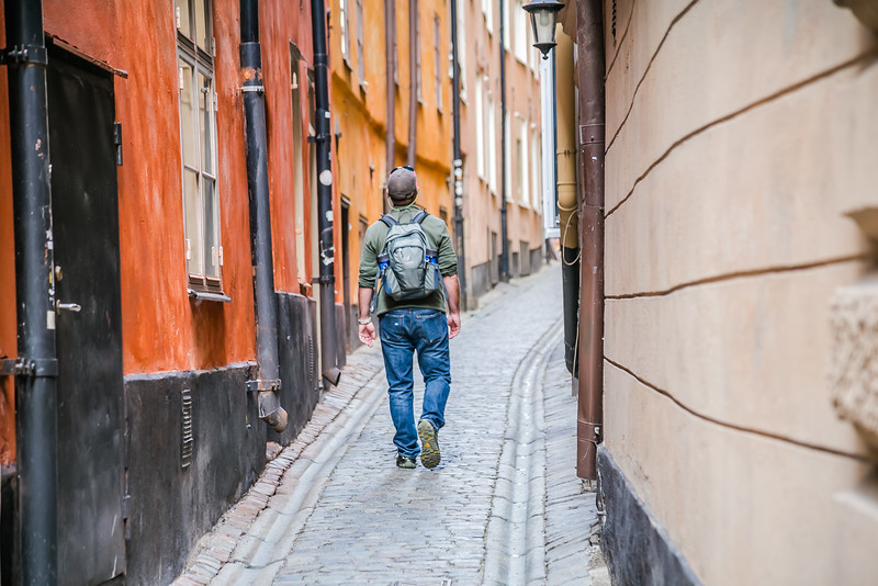 David Stock walking the streets in Stockholm