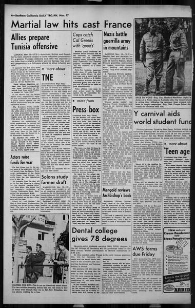Daily Trojan, Vol. 34, No. 106, March 17, 1943