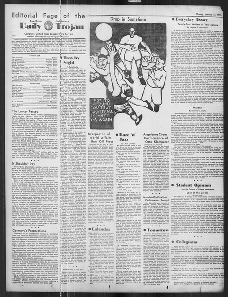 Daily Trojan, Vol. 27, No. 63, January 13, 1936