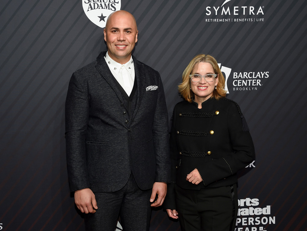 . Hope award recipient Carlos Beltran, left, and Mayor of San Juan, Puerto Rico, Carmen Yulin Cruz pose together at the Sports Illustrated 2017 Sportsperson of the Year Awards at the Barclays Center on Tuesday, Dec. 5, 2017, in New York. (Photo by Evan Agostini/Invision/AP)