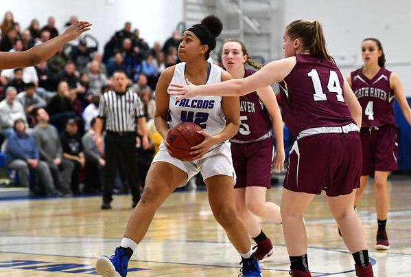 3/6/2020 Mike Orazzi | StaffrSt. Paul Catholic High School's Jade Udoh (42) during the Class L Second Round Girls State Tournament with North Haven in Bristol on Friday night.