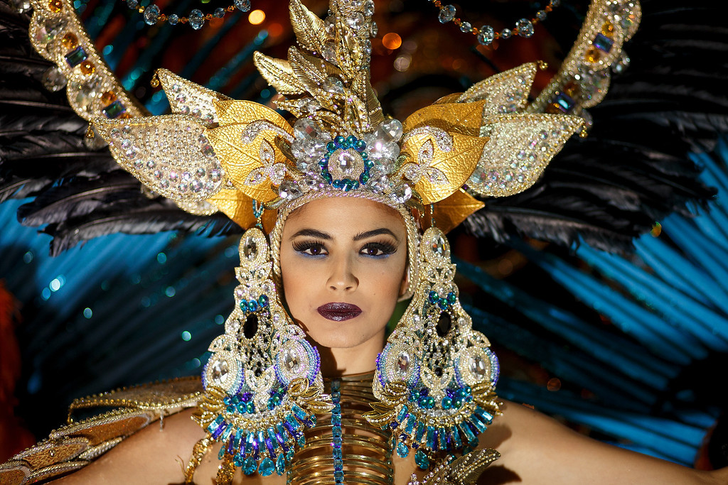 . Nominee Amanda Perdomo poses for photographs at backstage before she was elected as Queen of the 2013 Santa Cruz carnival on February 26, 2014 in Santa Cruz de Tenerife on the Canary island of Tenerife, Spain. The Carnival of Santa Cruz de Tenerife brings thousands of revellers every year. Santa Cruz is the closest European equivalent to the Brazilian Carnival from Rio Janeiro.  (Photo by Pablo Blazquez Dominguez/Getty Images)