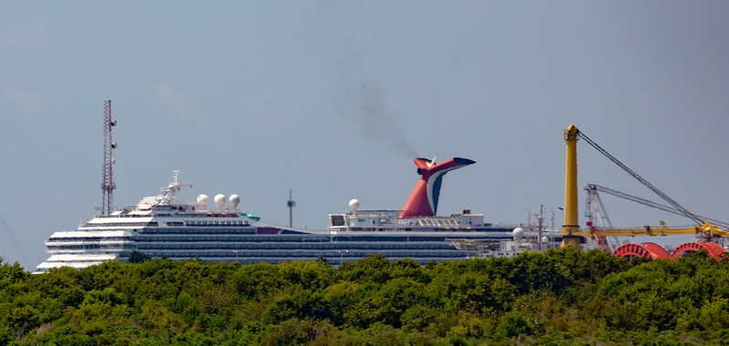 A distant Carnival cruise ship