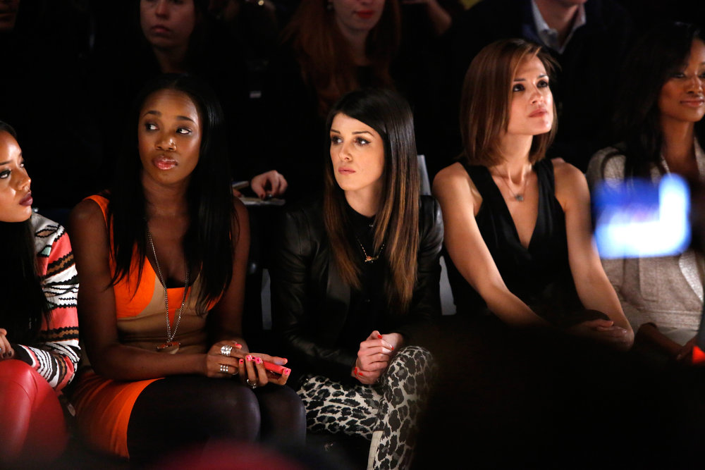 . ( L-R) DJ Kiss, actors Shanae Grimes, Torrey DeVitto and Nichole Galicia attend the Tracy Reese Fall 2013 fashion show during Mercedes-Benz Fashion Week at The Studio at Lincoln Center on February 10, 2013 in New York City.  (Photo by Cindy Ord/Getty Images for Mercedes-Benz Fashion Week)