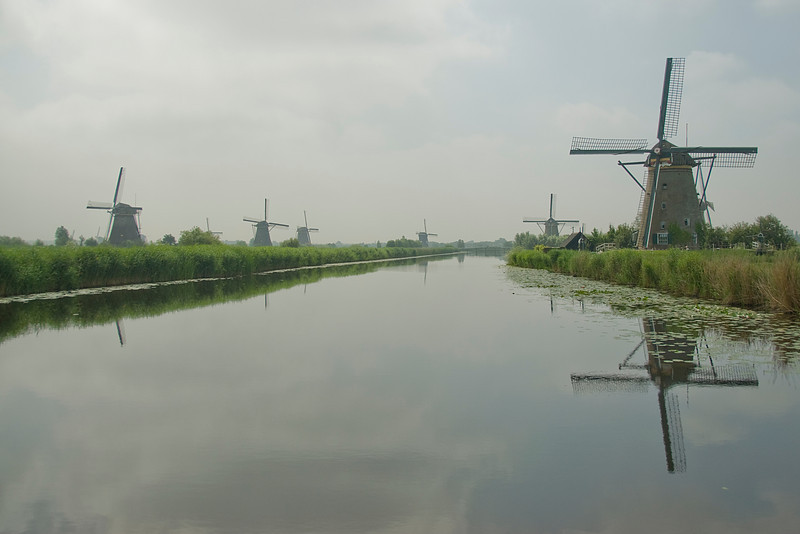 The windmills at UNESCO World Heritage Site of Kinderdijk, Netherlands