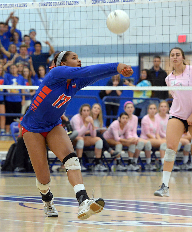 . Los Alamitos swept Mater Dei 3-0 in the CIF State Southern California girls volleyball final at Cerritos College in Norwalk, CA on Tuesday, December 3, 2013.  Crissy Jones. Los Al will play NorCal champ Granite Bay for the state title on Saturday. (Photo by Scott Varley, Daily Breeze)