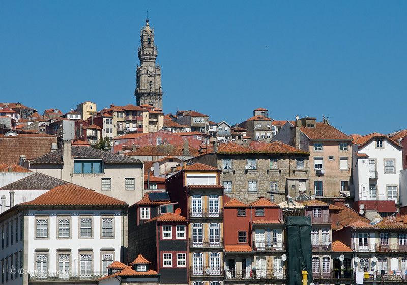 Sat 3/19 On the Douro River: View of Porto with the Clerigos church tower in the background