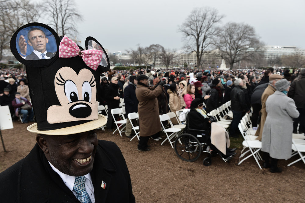 . People attend the 57th Presidential Inauguration on January 21, 2013 in Washington,DC. US President Barack Obama was sworn in for a second term.   PAUL J. RICHARDS/AFP/Getty Images