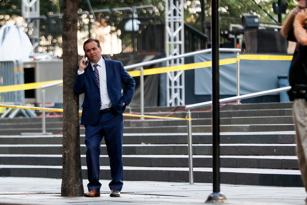 . Cincinnati Mayor John Cranley stands at the scene as emergency personnel and police respond to reports of a shooting near Fountain Square, Thursday, Sept. 6, 2018, in downtown Cincinnati. (AP Photo/John Minchillo)
