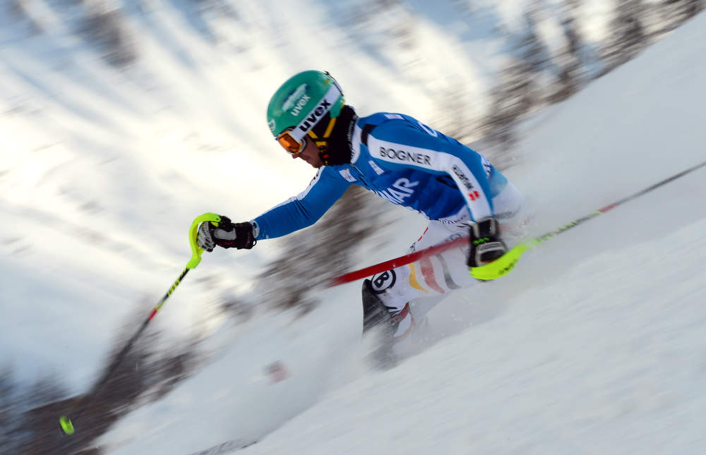Description of . Felix Neureuther of Germany skis in the first run of the FIS Alpine World Cup Men's Slalom on December 8, 2012in Val d'Isere, French Alps.   AFP PHOTO / FRANCK  FIFE/AFP/Getty Images