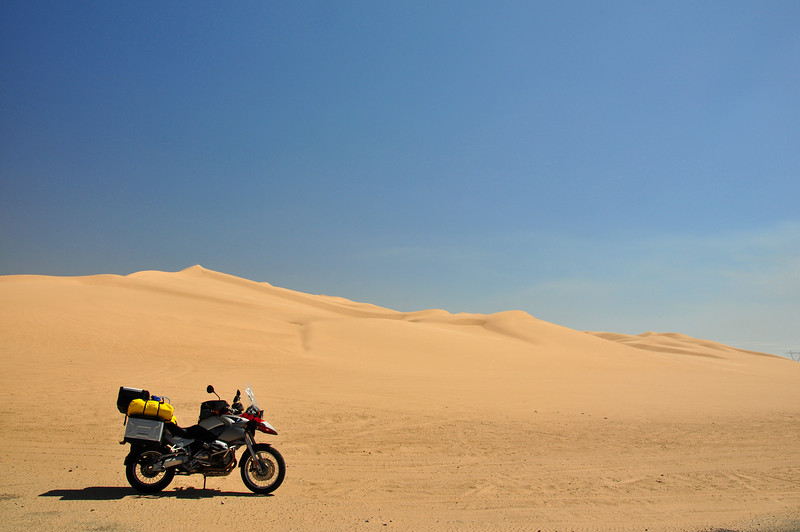 The GS in the dunes (not really).  I dont think the Tourance tires would get very far.