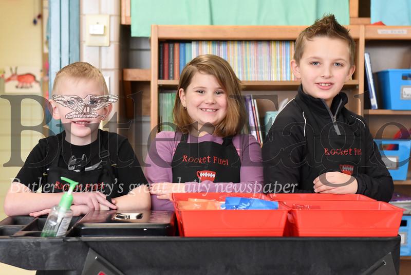 Harold Aughton/Butler Eagle: (Left-right) Jeric Stahlman, 6, Izabella Gaston, 8, and Wyatt Dlugolenski, 9, at Slippery Rock Elementary.