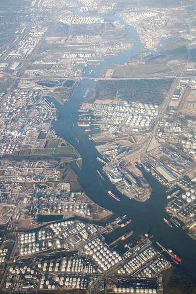 aerial view of the Houston Ship Channel