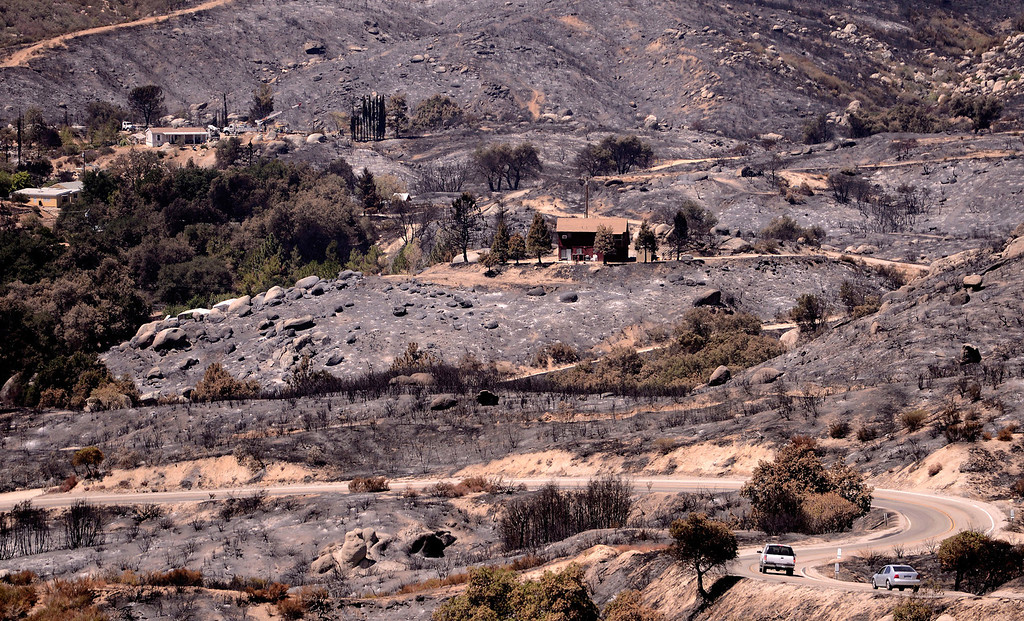 . A view of charred terrain caused by the Silver Fire as seen along Poppet Flats Road in the mountains south of Banning August 10, 2013.  GABRIEL LUIS ACOSTA/STAFF PHOTOTGRAPHER.