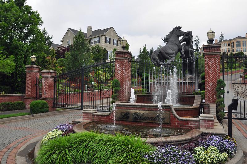 Fancy pants fountain in West Linn, Oregon.