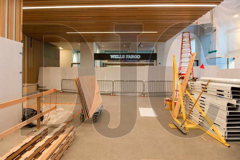 The main Wells Fargo lobby in the tower is being renovated with new wood finishes and other upgrades. (Josh Kulla/DJC)
