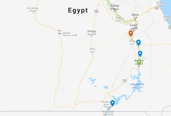 Aswan to Luxor cruise map