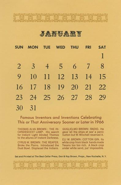 January, 1966, Best-Cellar Press