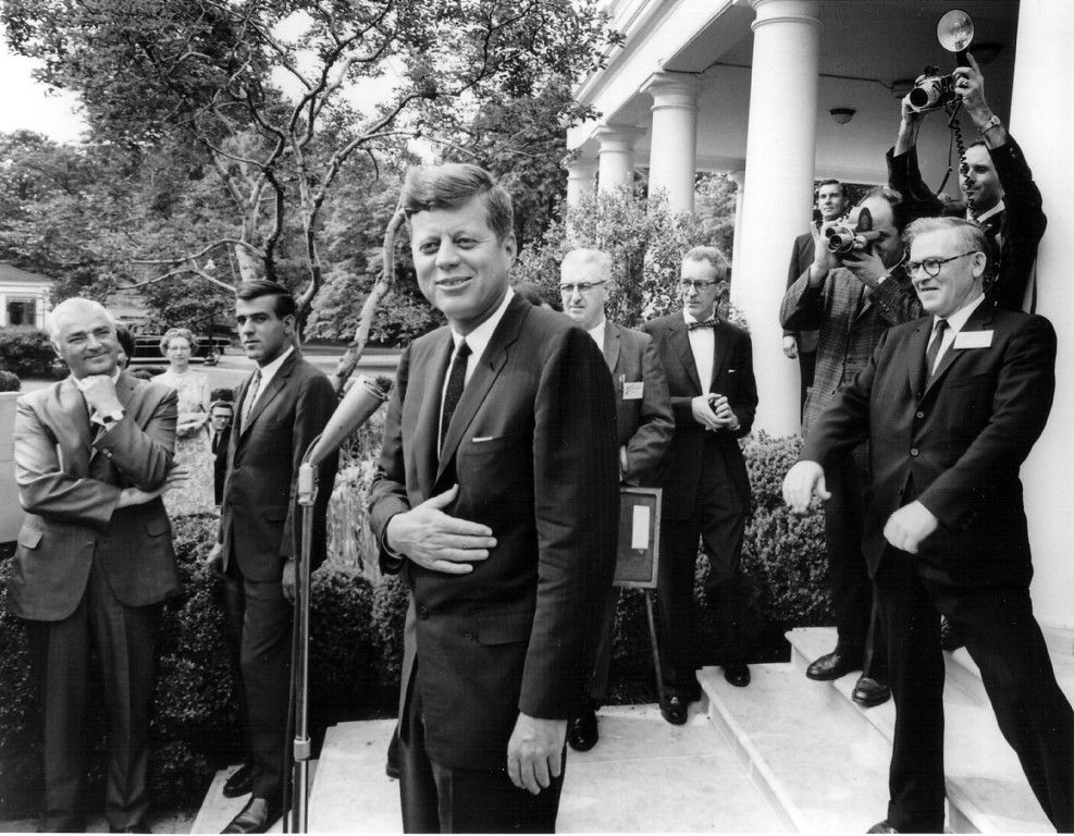 . Kennedy laughs with reporters after a White House press conference May 9, 1963. National Archive/Newsmakers